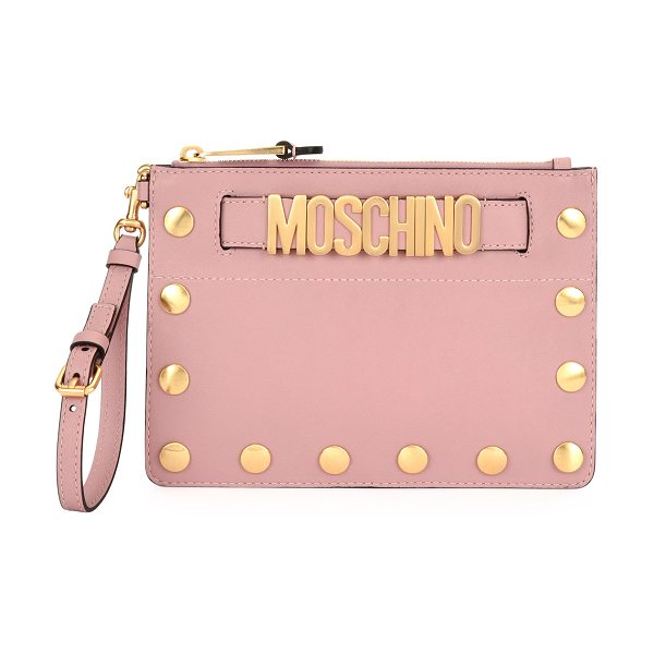 Moschino Studded Faux-Leather Wristlet Clutch Bag in pink - Moschino faux-leather (vinyl) clutch bag with studded...
