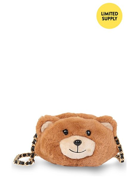 Moschino Teddy bear crossbody bag in fantasy print brown - A key piece from Moschino's Fall/Winter '15 Runway...