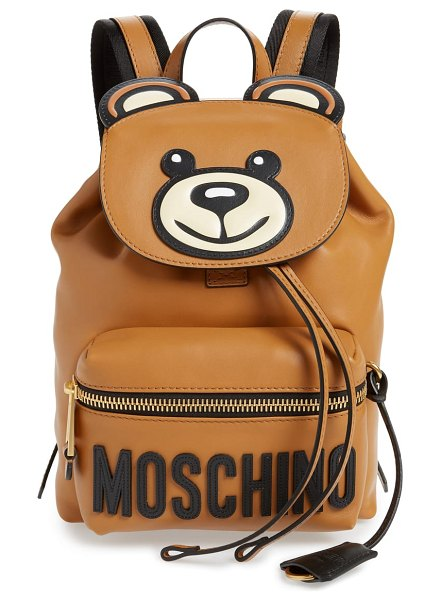 Moschino teddy bear faux leather backpack in brown