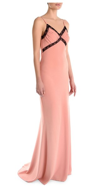 Moschino v-neck button-back gown in pink