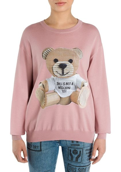 Moschino wool teddy bear sweater in light pink - Wool sweater with cardboard teddy bear accent....