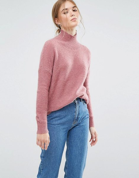 Moss Copenhagen Relaxed Sweater With High Neck in pink - Sweater by Moss Copenhagen, Super-soft wool-mix knit,...