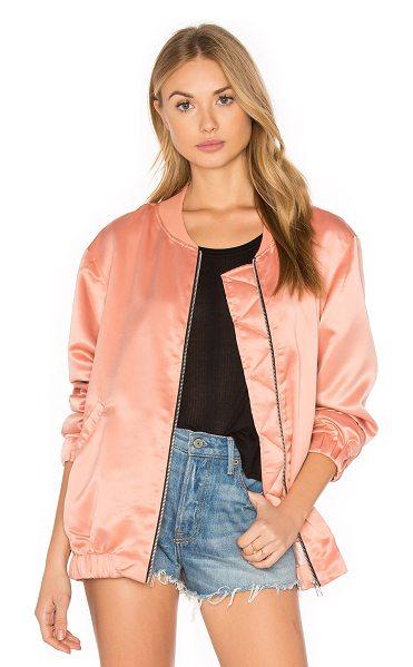 Motel Coppens Bomber in dark peach - 100% poly. Hand wash cold. Front zipper closure. Side...