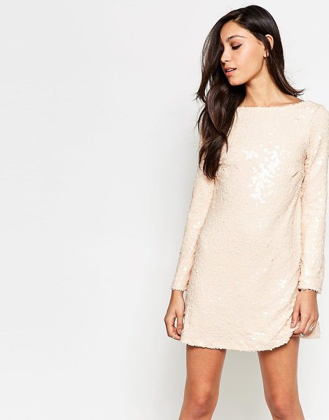 "Motel Damitri Dress In Sequins in pink - """"Evening dress by Motel, Sequinned woven fabric, Slash..."