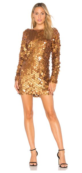 Motel Malia Sequin Dress in metallic bronze - Poly blend. Hand wash cold. Fully lined. Allover sequin...