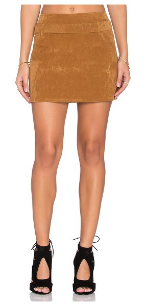 Motel Nadia skirt in tan - 100% poly. Hand wash cold. Unlined. Exposed back zipper...