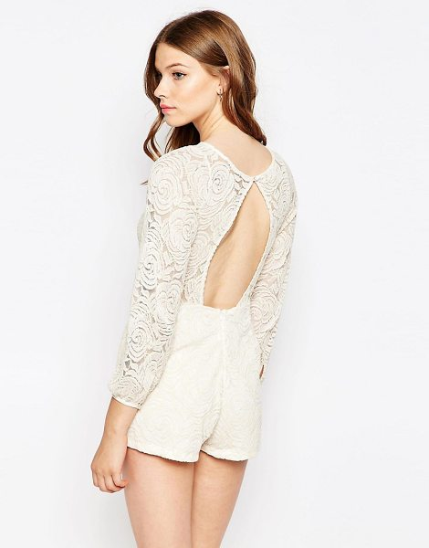 Motel Romper in cream - Romper by Motel, Floral lace, Lined main, Crew neckline,...