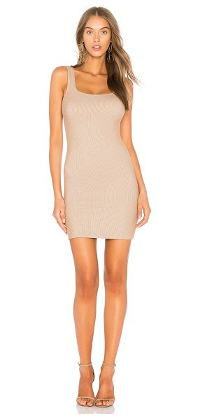Motel Rosie Dress in beige - Poly blend. Unlined. Rib knit fabric. MOTE-WD337....