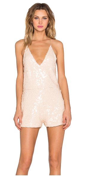 MOTEL Vanille Playsuit in beige - Poly blend. Hand wash cold. Sequined throughout. Hidden...