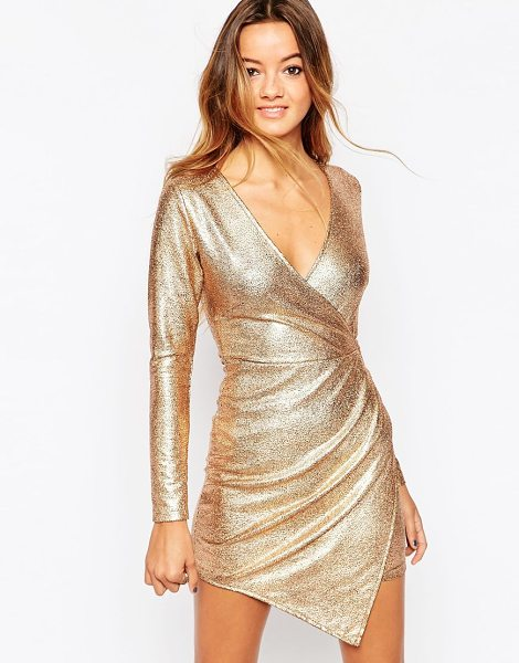 Motel Willow wrap dress in rose gold - Party dress by Motel Lightweight unlined stretch fabric...