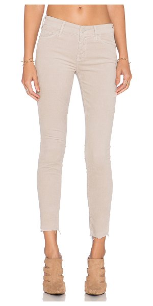"""Mother Hopscotch looker ankle fray in beige - 98% cotton 2% elastane. 12"""""""" at the knee narrows to 10""""""""..."""
