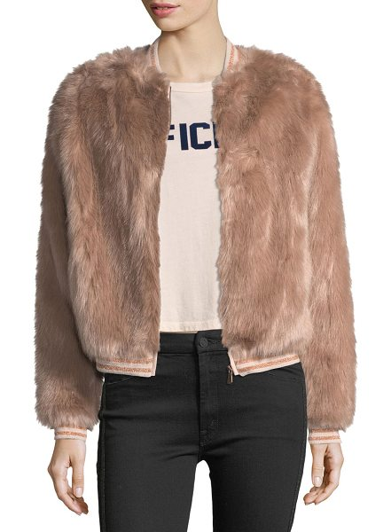 "Mother Letterman Faux-Fur Bomber Jacket in beige - Mother Denim ""Letterman"" bomber jacket in faux-fur..."