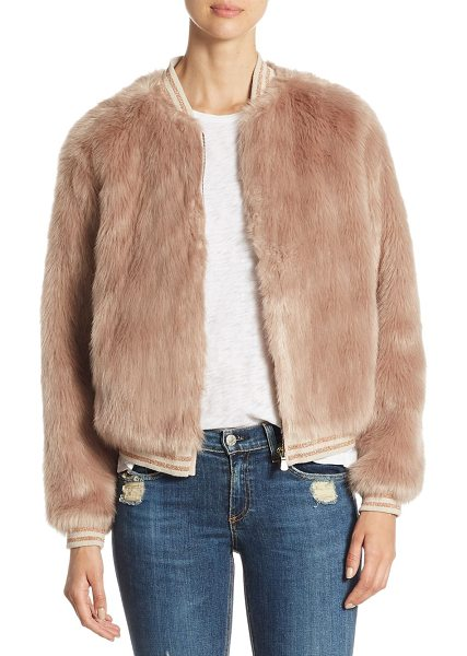 Mother letterman faux fur jacket in beige - Unique faux fur jacket with rib-knit cuffs and hem....