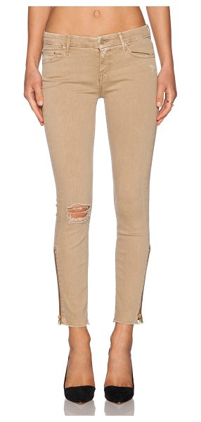 """Mother Looker zip fray in tan - 92% cotton 6% poly 2% elastane. 12"""""""" at the knee narrows..."""