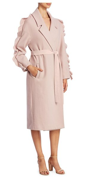 Mother Of Pearl bexley wool wrap coat in pink - Deluxe wool coat with dramatic ruffles at sleeve. Notch...