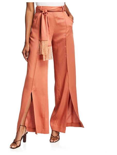 Mother Of Pearl Leo Wide-Leg Belted Twill Trousers in salmon