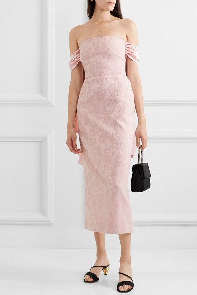Mother Of Pearl net sustain matilda off-the-shoulder silk satin-trimmed organic cotton and wool-blend dress in blush