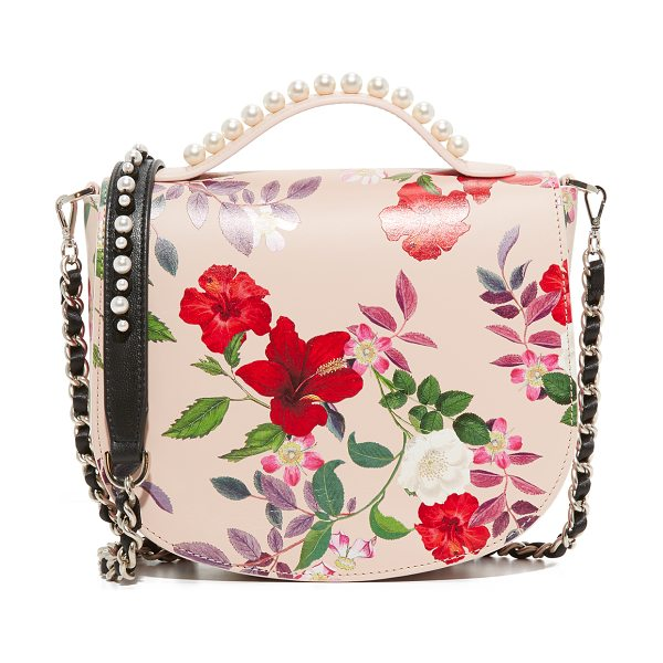 Mother Of Pearl winston satchel in nude floral - A pastel floral print adds feminine style to this...