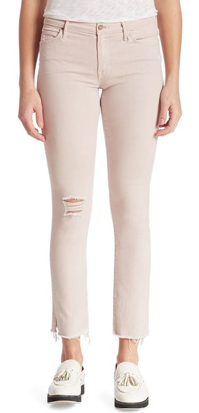 Mother rascal distressed straight-leg ankle snippet jeans in blush - Distressed straight-leg jeans finished with slit hem....