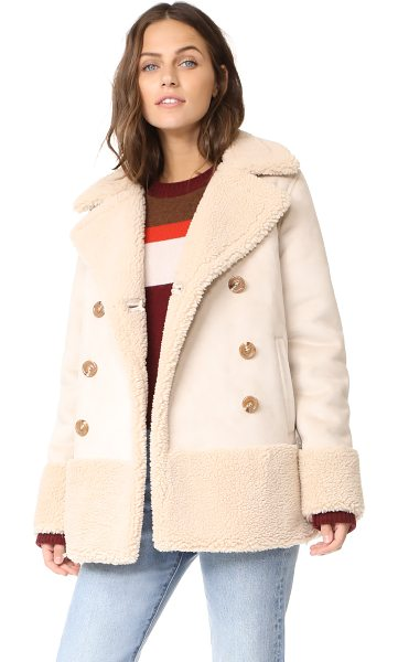Mother sherpa jacket in cream - A double-breasted MOTHER jacket, trimmed and lined with...