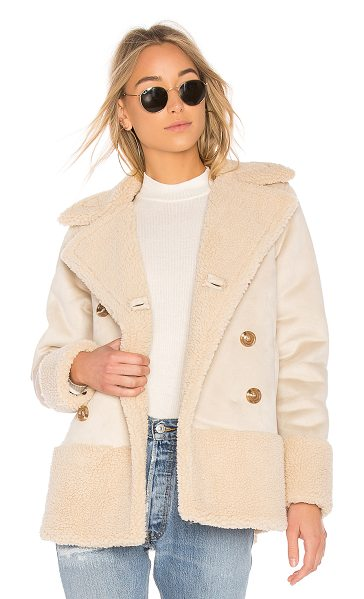 Mother Sherpa Jacket in cream - Self: 100% polySherpa: 100% poly. Dry clean only. Front...
