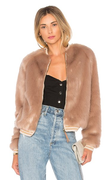 Mother The Letterman Faux Fur Jacket in blush - Faux Fur: 100% modacrylicBacking & Lining: 100% poly....