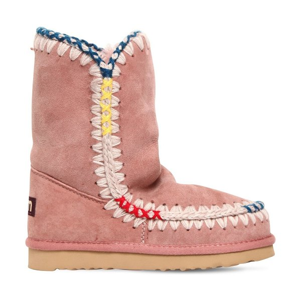 MOU 20mm eskimo pop shearling boots in pink - 20mm Rubber sole. Contrasting color stitching details ....