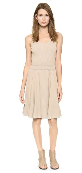 M.PATMOS Engineered knit ballerina dress in stone - Subtle metallic threads accent the ribbed waist of this...
