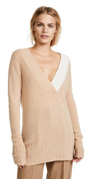 M.PATMOS hoxton v pullover in camel/white - This luxurious cashmere M.PATMOS sweater is detailed...