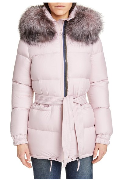 MR & MRS Italy genuine fox fur trim quilted down puffer coat in pink - An optional hood trimmed with plush Finnish fox fur ups...