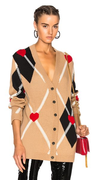 MSGM Argyle Cardigan in camel black white & red - 50% acrylic 50% wool. Made in Italy. Dry clean only....