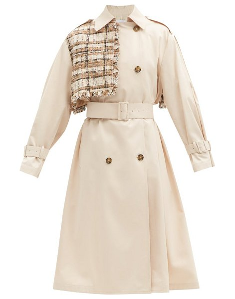 MSGM bouclé-panel cotton-gabardine trench coat in beige