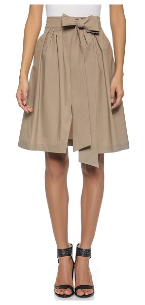 MSGM Cotton wrap skirt in brown - This wrap style MSGM full skirt has an attached self...