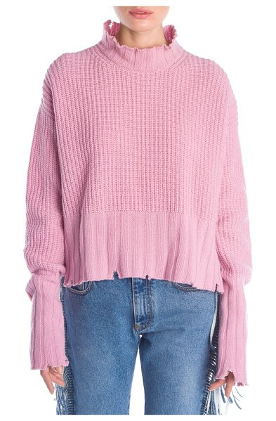MSGM destroyed waffle knit sweater in pink - From the Saks It List: Pastels. Cozy waffle knit sweater...