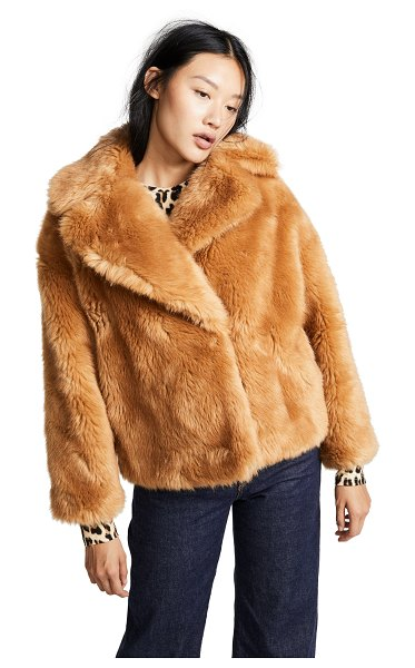 MSGM faux fur short jacket in beige - Fabric: Faux fur Waist-length style Collared neck Long...