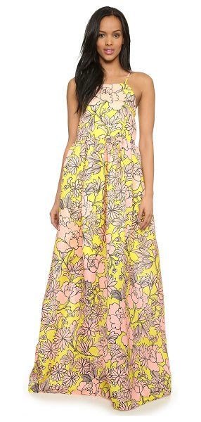 MSGM Floral maxi dress in yellow/pink - Ruching brings bold volume to this floral MSGM maxi...