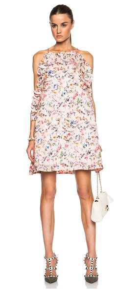 MSGM Floral printed ruffle mini dress in pink,floral - Self: 100% silk - Lining: 100% poly.  Made in Italy. ...