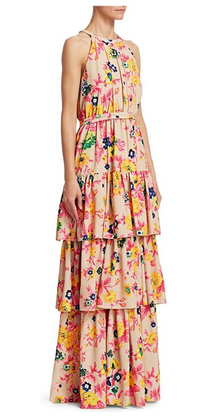 MSGM floral tiered sleeveless gown in beige multi