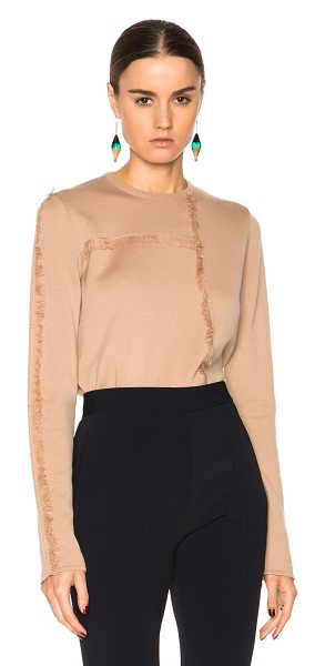 MSGM Fringe knit sweater in neutrals - 100% fleece wool.  Made in Italy.  Knit fabric.  Fringe...