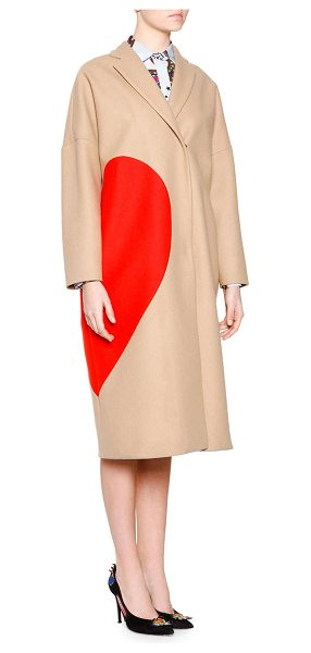 MSGM Heart wool-blend coat in 23btan - Enlarged heart eclipses side of wool-blended MSGM coat....