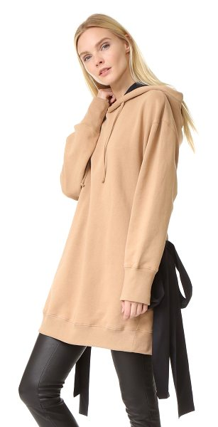 MSGM Hooded sweatshirt with side ties in beige/black - Long ties cut from contrast shirting add unexpected...