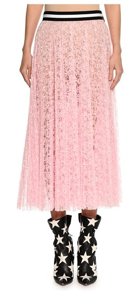 MSGM Lace A-Line Midi Skirt in pink - MSGM sheer lace skirt. Striped waistband. A-line...