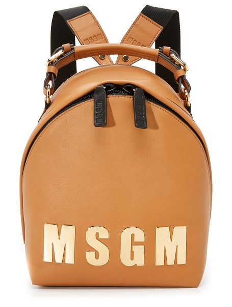MSGM Logo backpack in tan