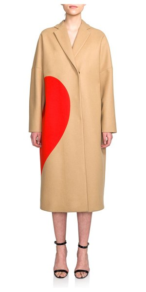 MSGM Long stretch-wool heart coat in camel - MSGM elevates the beloved, wool-blend camel coat with...