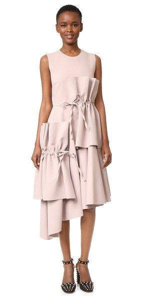 MSGM midi dress with ties in taupe - Ties cinch the voluminous overlays on this sleeveless...