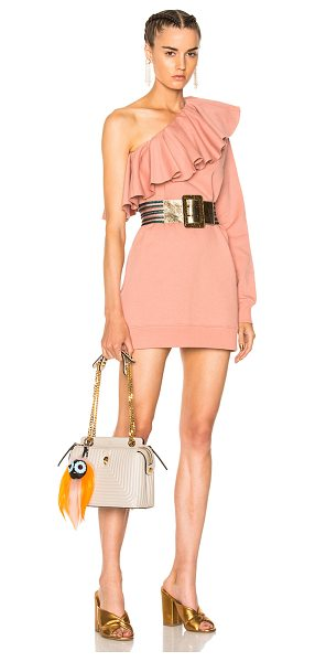 MSGM One Shoulder Ruffle Dress in pink - 100% cotton.  Made in Italy.  Machine wash.  Ruffled...