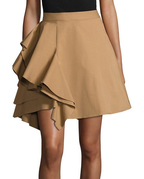MSGM poplin side ruffle skirt in tan - Chic skirt elevated with eye-catching ruffle detail....