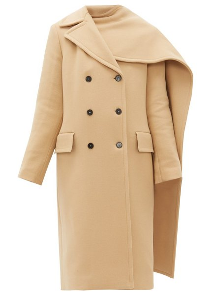 MSGM removable-scarf wool-blend double-breasted coat in beige
