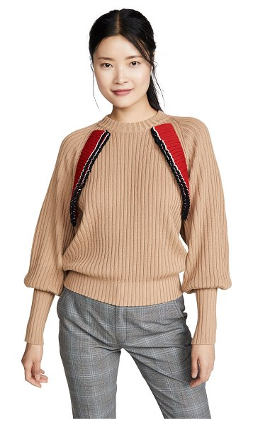 MSGM ruffle pullover in beige & rouches red