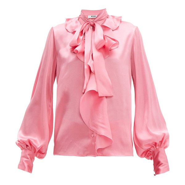 MSGM ruffled pussy-bow satin blouse in pink
